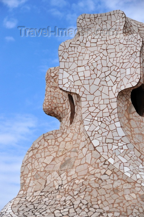 catalon208: Barcelona, Catalonia: access tower covered in tile shards, roof of Casa Milà, La Pedrera, by Gaudi - UNESCO World Heritage Site - photo by M.Torres - (c) Travel-Images.com - Stock Photography agency - Image Bank
