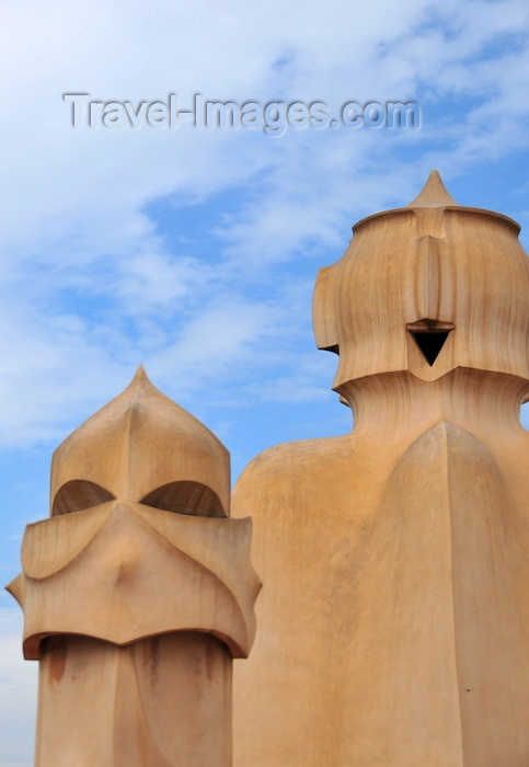catalon209: Barcelona, Catalonia: angry chimney and smiling access tower, roof of Casa Milà, La Pedrera, by Gaudi - UNESCO World Heritage Site - photo by M.Torres - (c) Travel-Images.com - Stock Photography agency - Image Bank