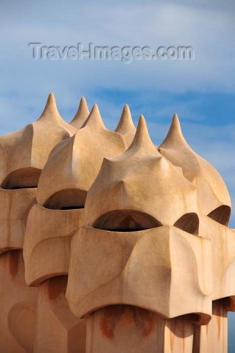 catalon213: Barcelona, Catalonia: menacing chimneys of Casa Milà, La Pedrera, by Gaudi - UNESCO World Heritage Site - photo by M.Torres - (c) Travel-Images.com - Stock Photography agency - Image Bank