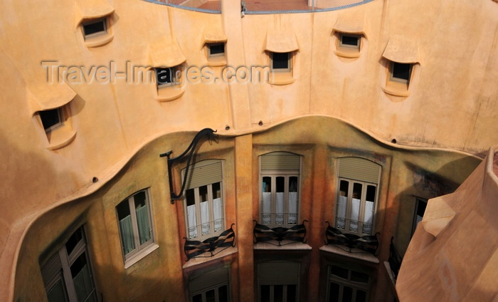 catalon215: Barcelona, Catalonia: attic windows of Casa Milà, La Pedrera, by Gaudi - UNESCO World Heritage Site - photo by M.Torres - (c) Travel-Images.com - Stock Photography agency - Image Bank