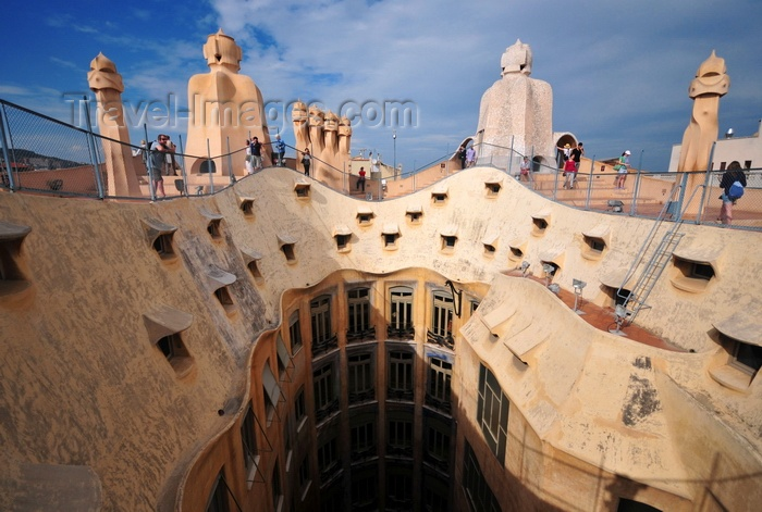 catalon218: Barcelona, Catalonia: visitors on the roof of Casa Milà, La Pedrera, by Gaudi - UNESCO World Heritage Site - photo by M.Torres - (c) Travel-Images.com - Stock Photography agency - Image Bank