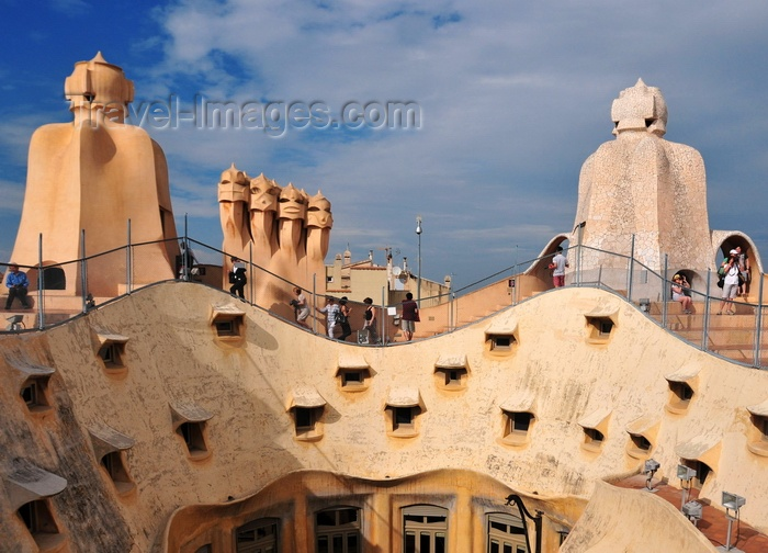 catalon219: Barcelona, Catalonia: roof skyline of Casa Milà, La Pedrera, by Gaudi - UNESCO World Heritage Site - photo by M.Torres - (c) Travel-Images.com - Stock Photography agency - Image Bank
