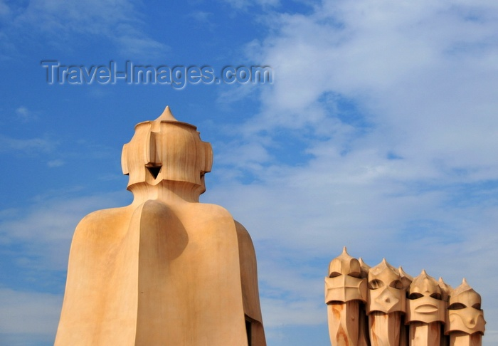 catalon221: Barcelona, Catalonia: access tower and block of chimneys, roof of Casa Milà, La Pedrera, by Gaudi - UNESCO World Heritage Site - photo by M.Torres - (c) Travel-Images.com - Stock Photography agency - Image Bank
