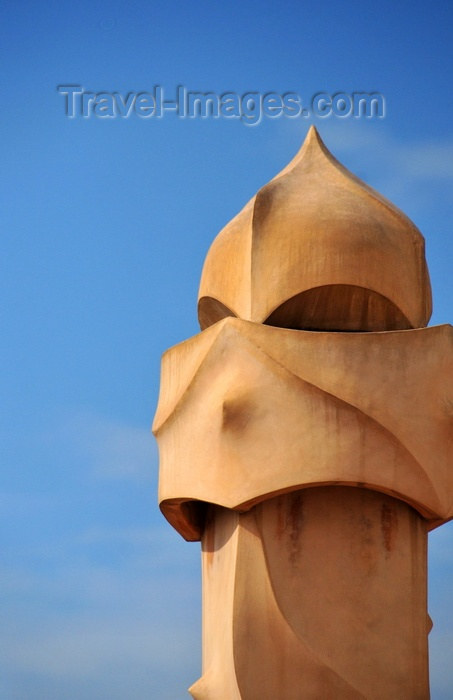 catalon222: Barcelona, Catalonia: soldier-like chimney of Casa Milà, La Pedrera, by Gaudi - UNESCO World Heritage Site - photo by M.Torres - (c) Travel-Images.com - Stock Photography agency - Image Bank