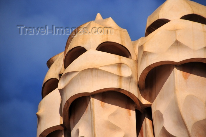 catalon223: Barcelona, Catalonia: set of chimneys of Casa Milà, La Pedrera, by Gaudi - UNESCO World Heritage Site - photo by M.Torres - (c) Travel-Images.com - Stock Photography agency - Image Bank