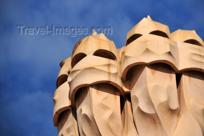 catalon224: Barcelona, Catalonia: the martial chimneys of Casa Milà, La Pedrera, by Gaudi - UNESCO World Heritage Site - photo by M.Torres - (c) Travel-Images.com - Stock Photography agency - Image Bank