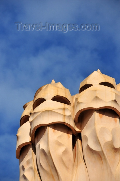 catalon225: Barcelona, Catalonia: sky and chimneys of Casa Milà, La Pedrera, by Gaudi - UNESCO World Heritage Site - photo by M.Torres - (c) Travel-Images.com - Stock Photography agency - Image Bank