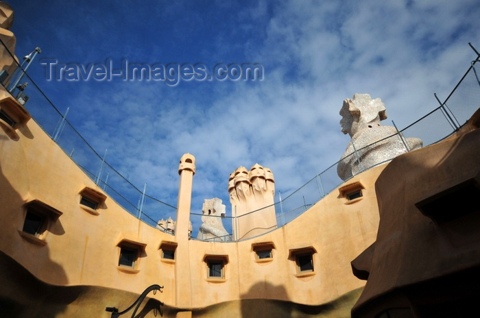 catalon226: Barcelona, Catalonia: courtyard of Casa Milà - attic windows and roof structures, La Pedrera, by Gaudi - UNESCO World Heritage Site - photo by M.Torres - (c) Travel-Images.com - Stock Photography agency - Image Bank
