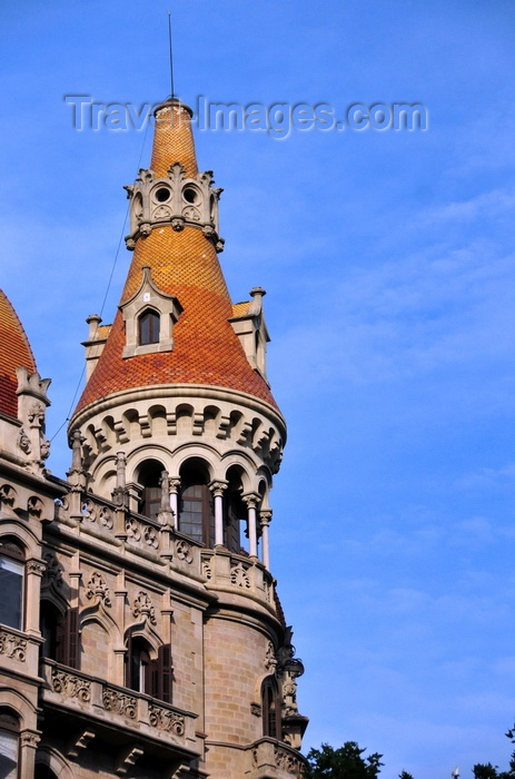 catalon238: Barcelona, Catalonia: tower at Cases Rocamora building (1917), architects Joaquim and Bonaventura Bassegoda i Amigó - Passeig de Gràcia - Eixample district - photo by M.Torres - (c) Travel-Images.com - Stock Photography agency - Image Bank
