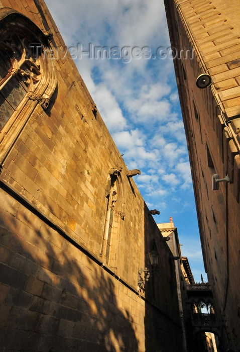 catalon246: Barcelona, Catalonia: Bisbe street between the Cathedral and Palau Episcopal with the Bisbe bridge between the Palau de la Generalitat and Cases dels Canonges, Barri Gòtic, Ciutat Vella - photo by M.Torres - (c) Travel-Images.com - Stock Photography agency - Image Bank