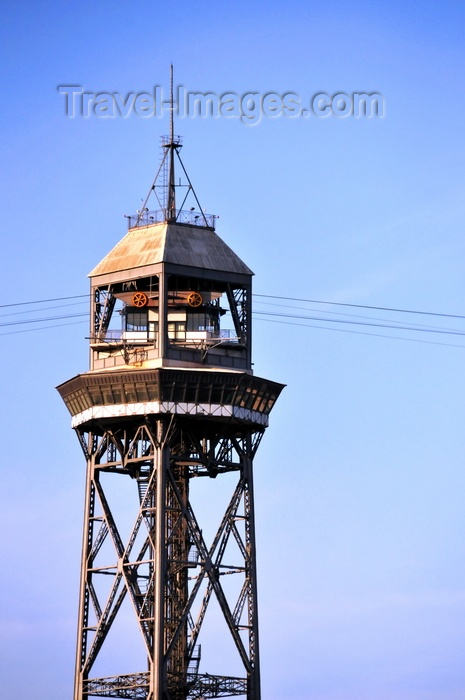 catalon251: Barcelona, Catalonia: Torre Jaume I - steel truss tower part of the Port Vell Aerial Tramway - architect Carles Boigas - photo by M.Torres - (c) Travel-Images.com - Stock Photography agency - Image Bank