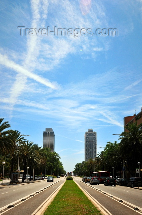 catalon260: Barcelona, Catalonia: Carrer de la Marina and skyscrapers - Mapfre Tower and Arts Hotel - photo by M.Torres - (c) Travel-Images.com - Stock Photography agency - Image Bank