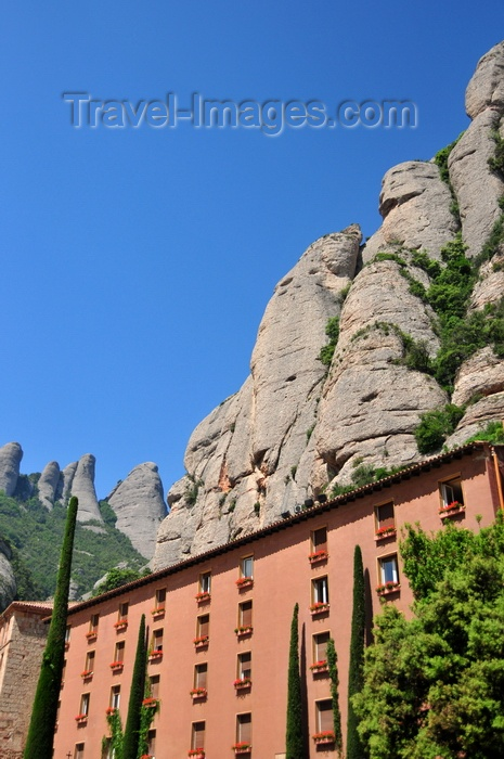 catalon49: Montserrat, Catalonia: Buildings under the scarp at Santa Maria de Montserrat Benedictine abbey - photo by M.Torres - (c) Travel-Images.com - Stock Photography agency - Image Bank
