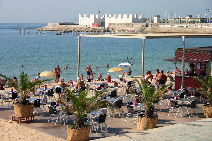 catalon56: Catalonia - Barcelona: beach café - photo by C.Blam - (c) Travel-Images.com - Stock Photography agency - Image Bank