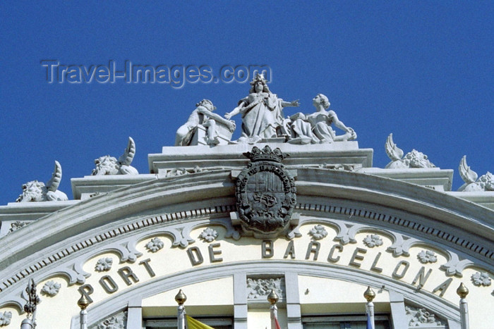catalon82: Catalonia - Barcelona: Portal de la Pau - Port de Barcelona building - Customs house - detail - top of the façade - photo by M.Bergsma - (c) Travel-Images.com - Stock Photography agency - Image Bank