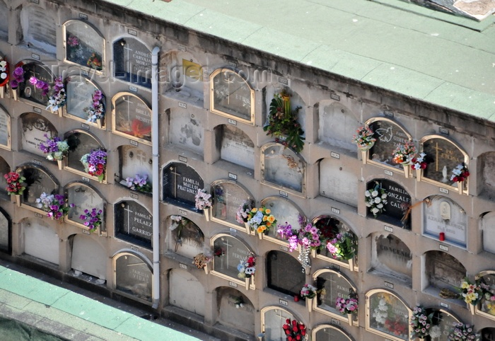 catalon83: Barcelona, Catalonia: Poblenou cemetery - niches in a Columbarium wall - photo by M.Torres - (c) Travel-Images.com - Stock Photography agency - Image Bank
