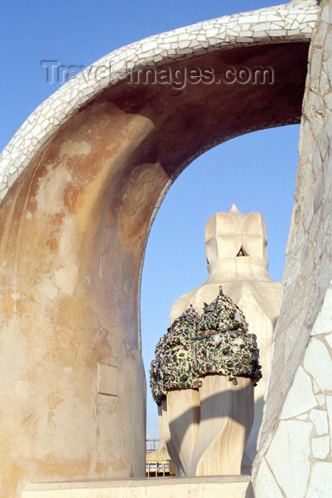 catalon84: Catalonia - Barcelona: roof of Casa Milá - tile fragments - photo by M.Bergsma - (c) Travel-Images.com - Stock Photography agency - Image Bank