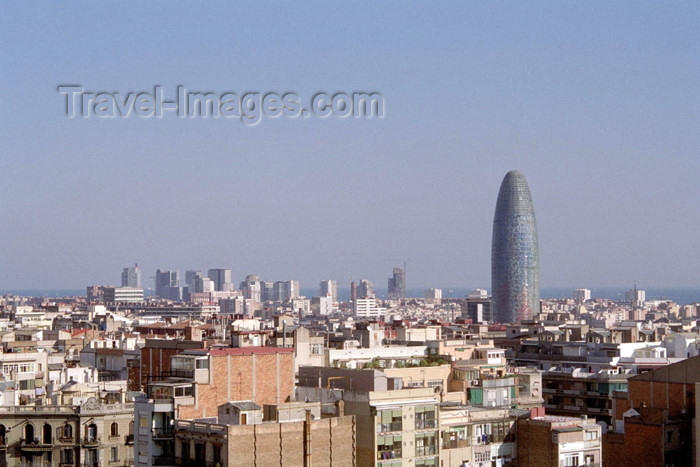 catalon96: Catalonia - Barcelona: Catalonian gherkin - Torre Agbar / Agbar tower - Avinguda Diagonal - architects: Ateliers Jean Nouvel - photo by M.Bergsma - (c) Travel-Images.com - Stock Photography agency - Image Bank
