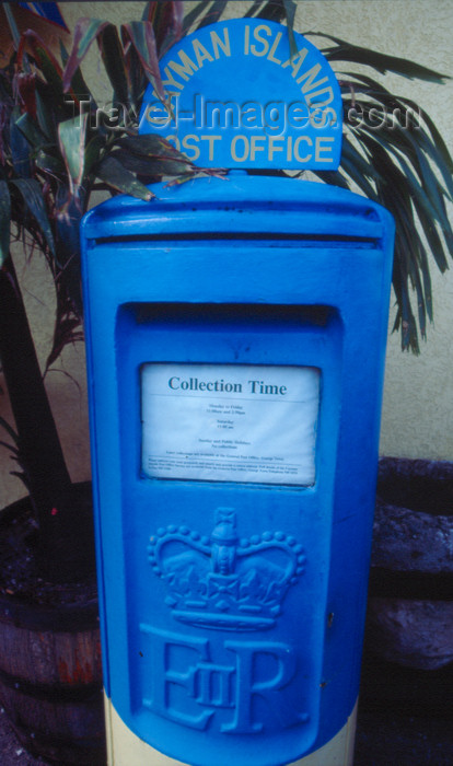 cayman13: Cayman Islands - Gran Cayman - George Town - blue ER II postbox - Cayman Islands Post Office - photo by F.Rigaud - (c) Travel-Images.com - Stock Photography agency - Image Bank