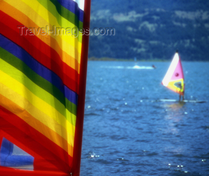 chile105: Araucanía Region, Chile - Pucón: windsurfers in Lake Villarica - photo by Y.Baby - (c) Travel-Images.com - Stock Photography agency - Image Bank