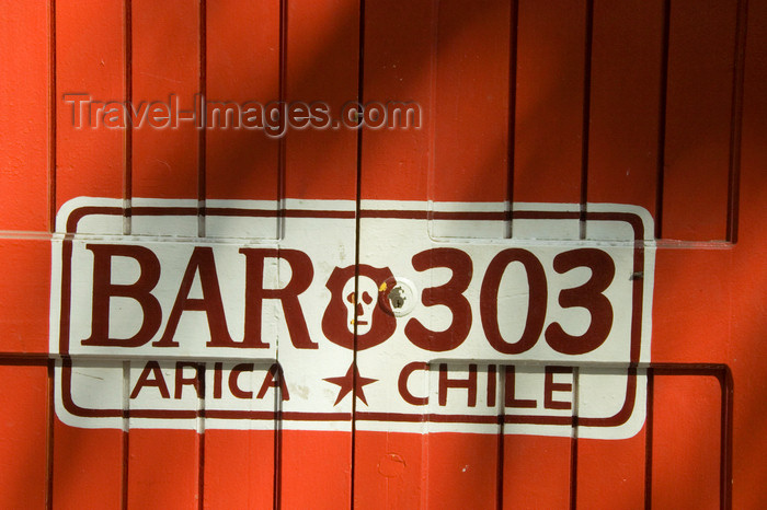 chile111: Chile - Arica: bar door painted as car license place - puerta de un bar - photo by D.Smith - (c) Travel-Images.com - Stock Photography agency - Image Bank