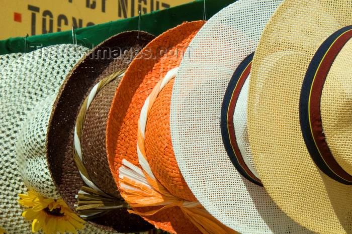 chile112: Chile - Arica: hats at the market - sombreros en el mercado - photo by D.Smith - (c) Travel-Images.com - Stock Photography agency - Image Bank