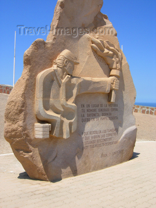 chile114: Chile - Arica: unknown soldier monument - Morro de Arica - military memorial - Pacific War - monumento al Soldado Desconocido - Guerra del Pacífico / Guerra del Salitre - photo by D.Smith - (c) Travel-Images.com - Stock Photography agency - Image Bank