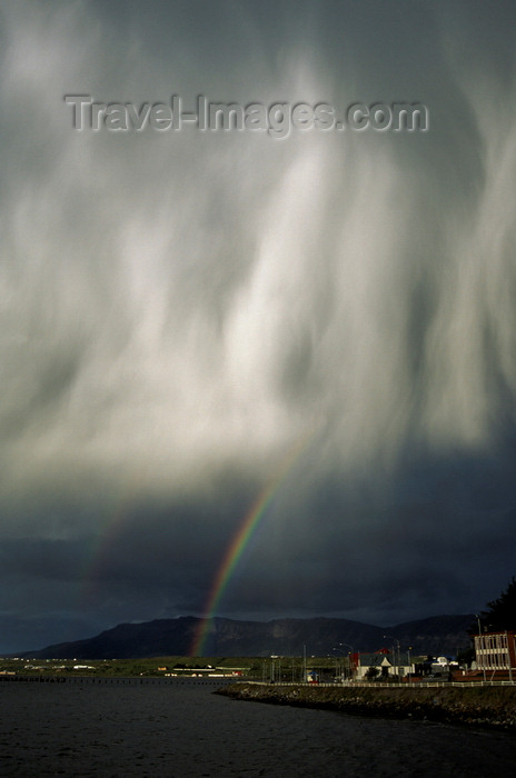 chile12: Puerto Natales, Magallanes region, Chile: double rainbow and falling rain – Patagonian sky - photo by C.Lovell - (c) Travel-Images.com - Stock Photography agency - Image Bank