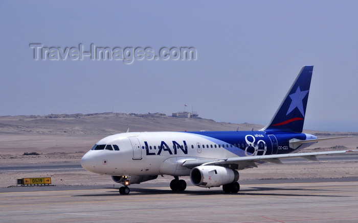 chile136: Iquique, Tarapacá Region, Chile: IQQ airport - LAN Chile - Airbus A318-121 - CC-CZJ (CN 3585)  - taxiing - photo by M.Torres - (c) Travel-Images.com - Stock Photography agency - Image Bank