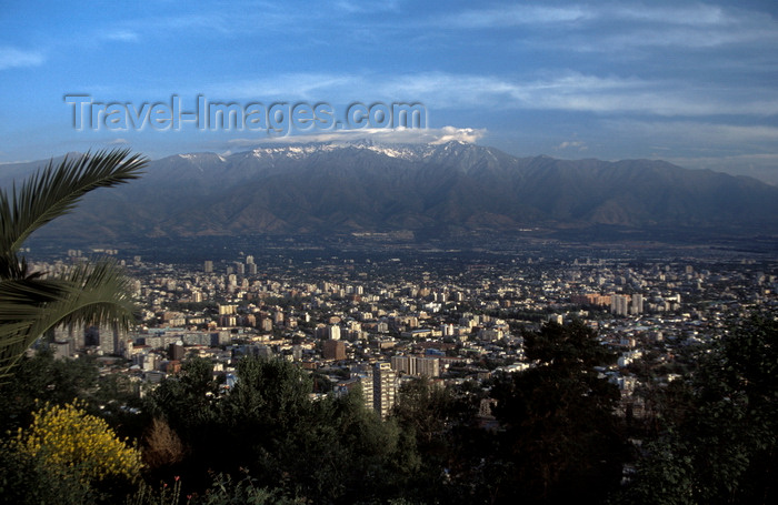 chile148: Santiago de Chile: view of downtown Santiago and the mountains from the Teleférico (cable-car) from Cerro San Cristobal in Barrio Bellavista - photo by C.Lovell - (c) Travel-Images.com - Stock Photography agency - Image Bank