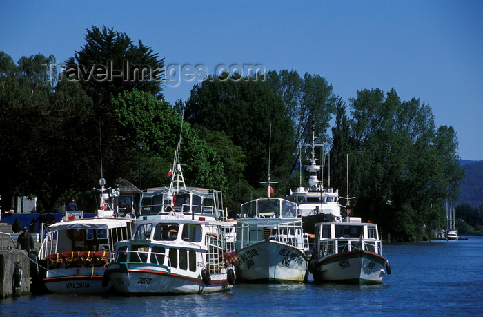 chile15: Valdivia, Los Ríos, Chile: tour boats at anchor at the docks – the river system feeds into the Pacific Ocean - photo by C.Lovell - (c) Travel-Images.com - Stock Photography agency - Image Bank