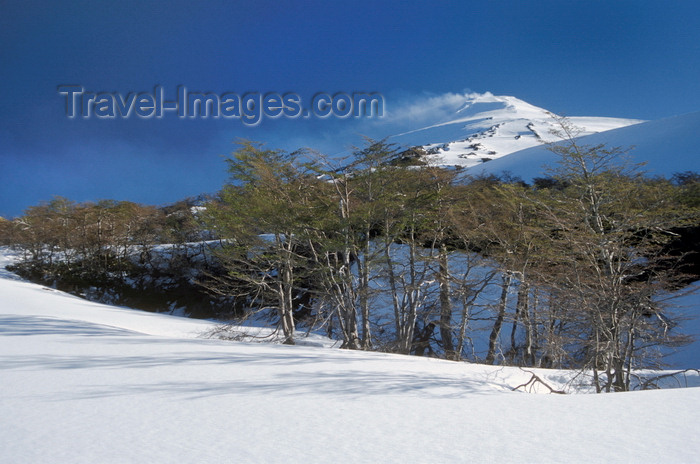 chile152: Villarrica Volcano National Park, Araucanía Region, Chile: smoking Villarrica volcano and snowy landscape in the Lake District of Chile - photo by C.Lovell - (c) Travel-Images.com - Stock Photography agency - Image Bank