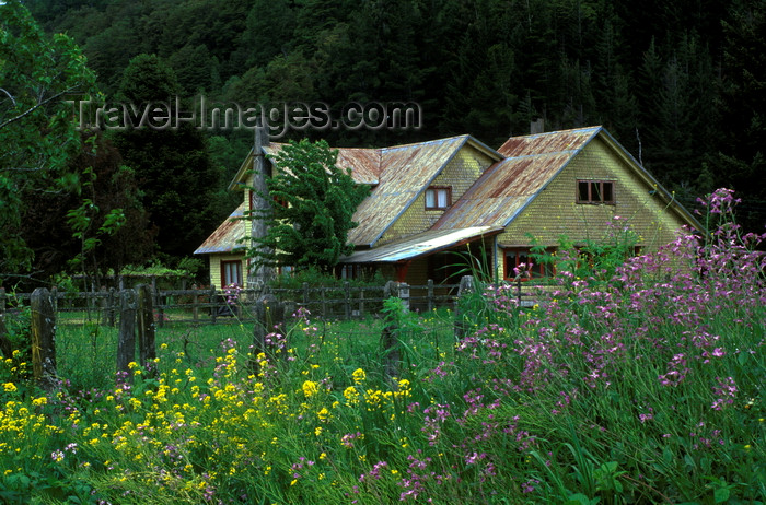 chile156: Puesco, Araucanía Region, Chile: wildflowers and ranch house - Lake District of Chile - photo by C.Lovell - (c) Travel-Images.com - Stock Photography agency - Image Bank
