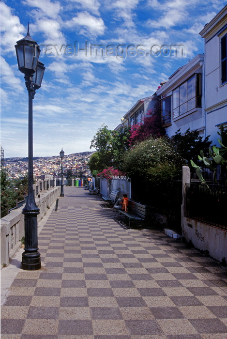 chile162: Valparaíso, Chile: Conception Street on Cerro Conception with historical and colorful houses and lampposts - photo by C.Lovell - (c) Travel-Images.com - Stock Photography agency - Image Bank