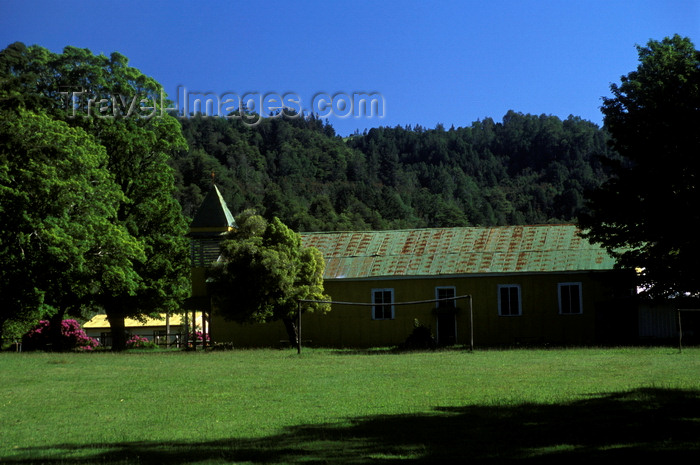 chile17: Isla Teja, Valdivia, Los Ríos, Chile: historical church - photo by C.Lovell - (c) Travel-Images.com - Stock Photography agency - Image Bank