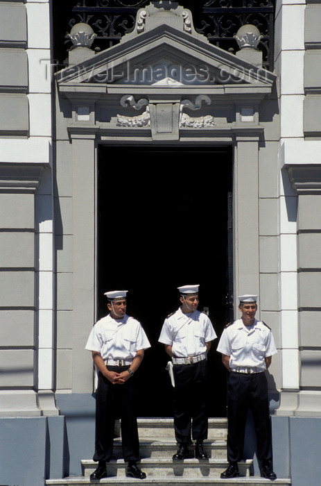 chile176: Valparaíso, Chile: sailors on guard at the Primera Zona Naval on Plaza – sentinels - photo by C.Lovell - (c) Travel-Images.com - Stock Photography agency - Image Bank