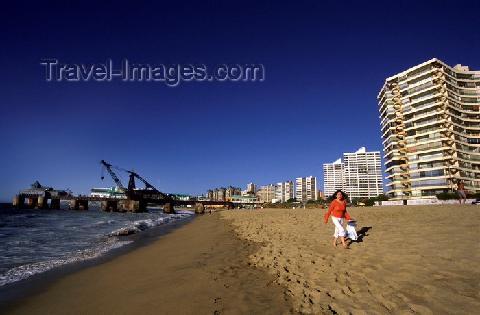 chile179: Viña Del Mar, Valparaíso region, Chile: beach, pier and high rises describe Chile's prime beach resort town - photo by C.Lovell - (c) Travel-Images.com - Stock Photography agency - Image Bank