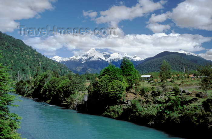 chile188: Los Lagos Region, Chile: river along the Camino Austral, a dirt road, but the main route in Northern Patagonia - snow covered mountains in the background - photo by C.Lovell - (c) Travel-Images.com - Stock Photography agency - Image Bank