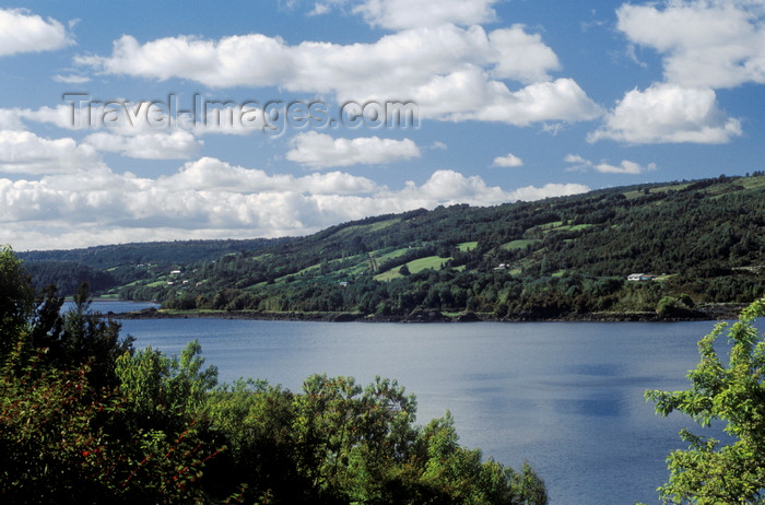chile191: Chiloé island, Los Lagos Region, Chile: inlet and farm land on pastoral Isla Grande de Chiloé - verdant hills - photo by C.Lovell - (c) Travel-Images.com - Stock Photography agency - Image Bank
