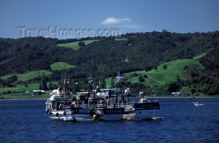 chile205: Dalcahue, Chiloé island, Los Lagos Region, Chile: fishing boats and a view of Quinchao Island - a great part of the local food comes from the sea - photo by C.Lovell - (c) Travel-Images.com - Stock Photography agency - Image Bank