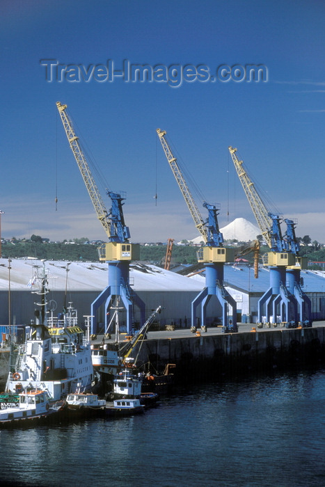 chile209: Puerto Montt, Llanquihue Province, Los Lagos Region, Chile: the port with industrial ship cranes and tug boats - Reloncaví Sound - photo by C.Lovell - (c) Travel-Images.com - Stock Photography agency - Image Bank