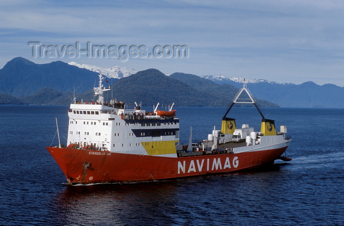 chile211: Gulf of Ancud, Los Lagos Region, Chile: Navimag ferry Evangalistas en route from Puerto Montt to Puerto Natales - Patagonia - photo by C.Lovell - (c) Travel-Images.com - Stock Photography agency - Image Bank