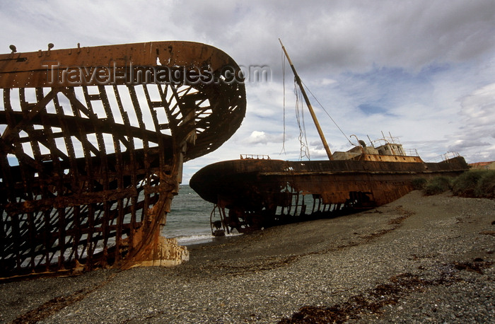 chile215: Estancia San Gregório, Magallanes Region, Chile: the rusting ship hulk of the Ambassador, on the beach at the ghost ranch  - Patagonia - photo by C.Lovell - (c) Travel-Images.com - Stock Photography agency - Image Bank