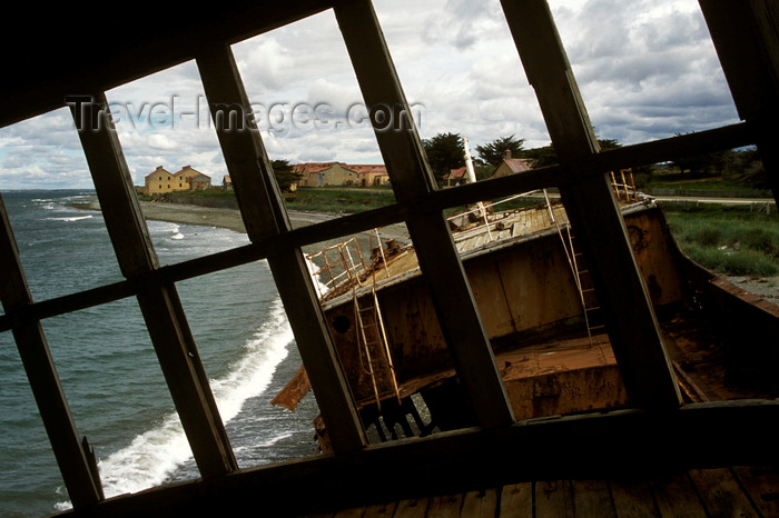 chile216: Estancia San Gregório, Magallanes Region, Chile: view from the grounded steamer Amadeo, on the beach at the ghost ranch – shipwreck - Patagonia - photo by C.Lovell - (c) Travel-Images.com - Stock Photography agency - Image Bank