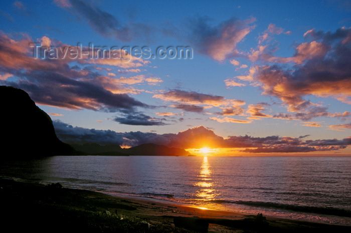 chile219: Aisén region, Chile: beach at sunset – hills where the temperate rain forest of northern Patagonia meets the Pacific Ocean - photo by C.Lovell - (c) Travel-Images.com - Stock Photography agency - Image Bank