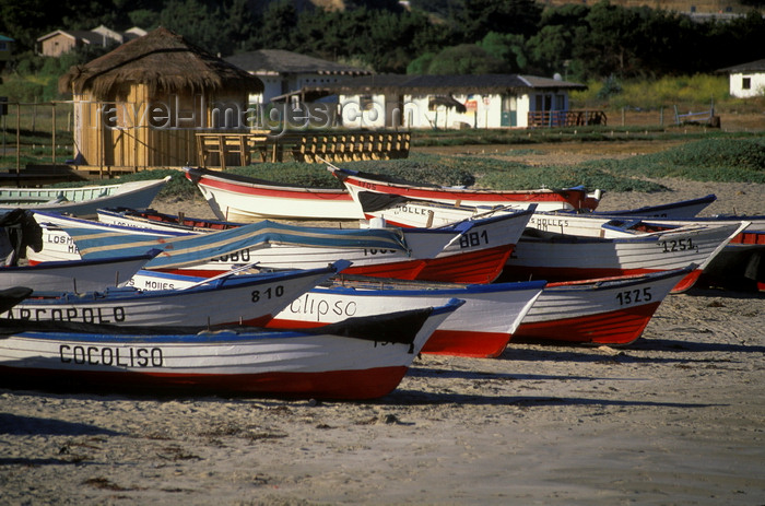 chile22: Los Molles, Valparaíso region, Chile: fishing boats on the beach - photo by C.Lovell - (c) Travel-Images.com - Stock Photography agency - Image Bank