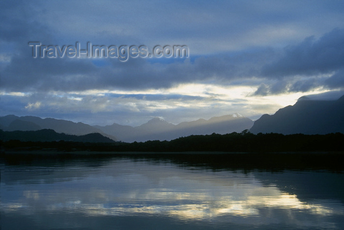 chile222: Aisén region, Chile: sky reflected on the Palena River - temperate rain forest of northern Patagonia west of La Junta - photo by C.Lovell - (c) Travel-Images.com - Stock Photography agency - Image Bank