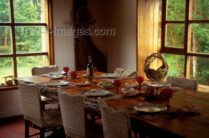 chile226: Anihue Bay, Aisén region, Chile: table laid for thanksgiving dinner - photo by C.Lovell - (c) Travel-Images.com - Stock Photography agency - Image Bank