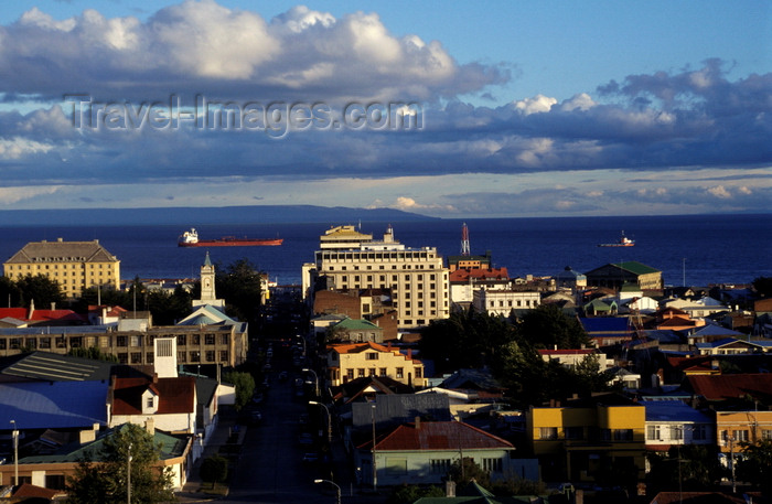 chile258: Punta Arenas, Magallanes region, Chile: Avenida Colón and ships in the Strait of Magellan - photo by C.Lovell - (c) Travel-Images.com - Stock Photography agency - Image Bank
