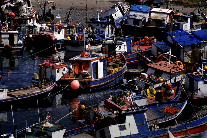 chile261: Puerto Hambre, Strait of Magellan, Magallanes region, Chile: fishing boats at the first settlement on the Strait of Magellan, named after 'famine', it is now a fishing village - photo by C.Lovell - (c) Travel-Images.com - Stock Photography agency - Image Bank